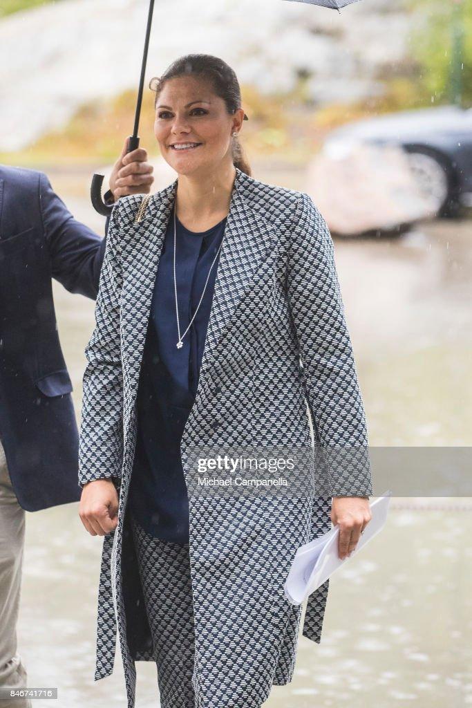 Princess Victoria of Sweden arrives at the 2017 Stockholm Security Conference at Artipelag on September 14, 2017 in Stockholm, Sweden.