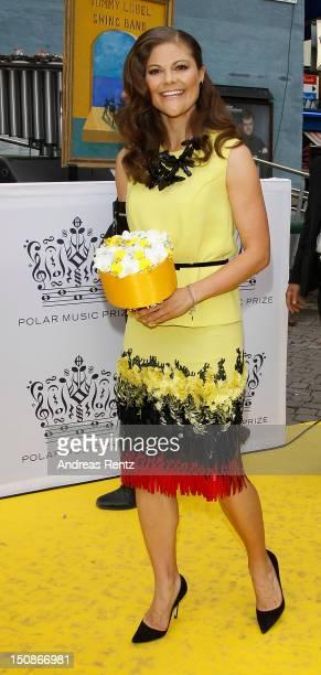 Princess Victoria of Sweden arrives for the Polar Music Prize at Konserthuset on August 28, 2012 in Stockholm, Sweden.