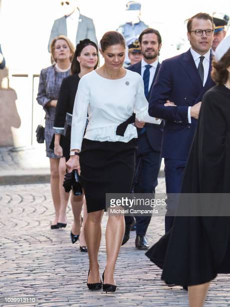 Princess Victoria of Sweden attends a church service at the Stockholm Cathedral in connection with the opening of the Swedish parliamentary session...