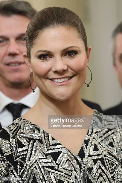 Princess Victoria of Sweden attends a party honouring the Swedish Crown Couple and Minister Ekstrom in Milan on December 16 2016 in Milan Italy