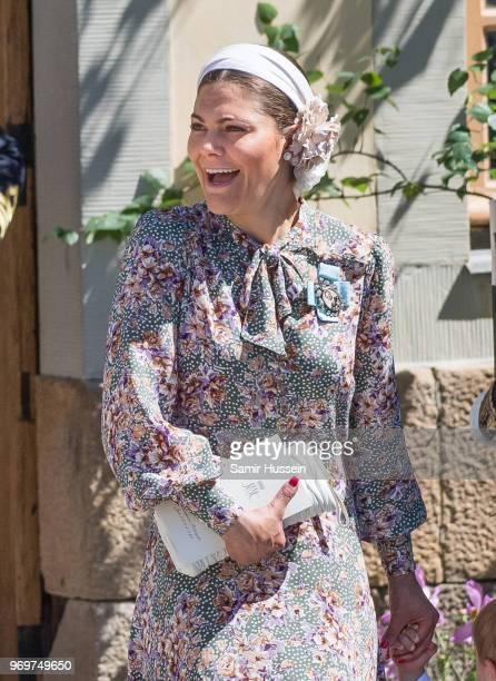 Princess Victoria of Sweden attends the christening of Princess Adrienne of Sweden at Drottningholm Palace Chapel on June 8 2018 in Stockholm Sweden