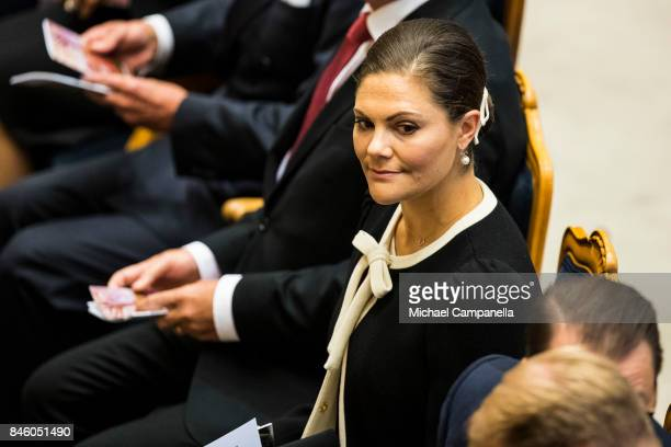Princess Victoria of Sweden attends the opening of the Parliamentary session on September 12, 2017 in Stockholm, Sweden.