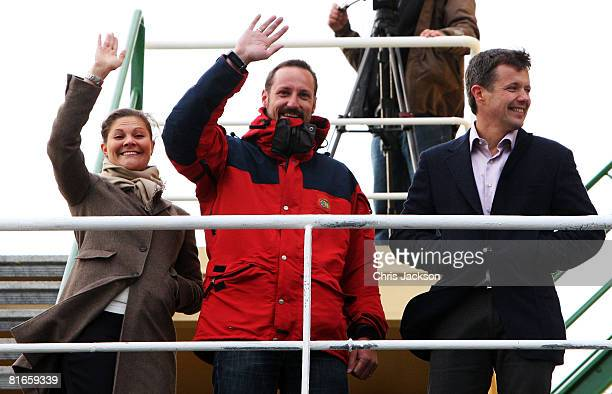 Princess Victoria of Sweden Crown Prince Haakon of Norway and Prince Frederik of Denmark wave from the deck of the Icebreaker Oden before embarking...