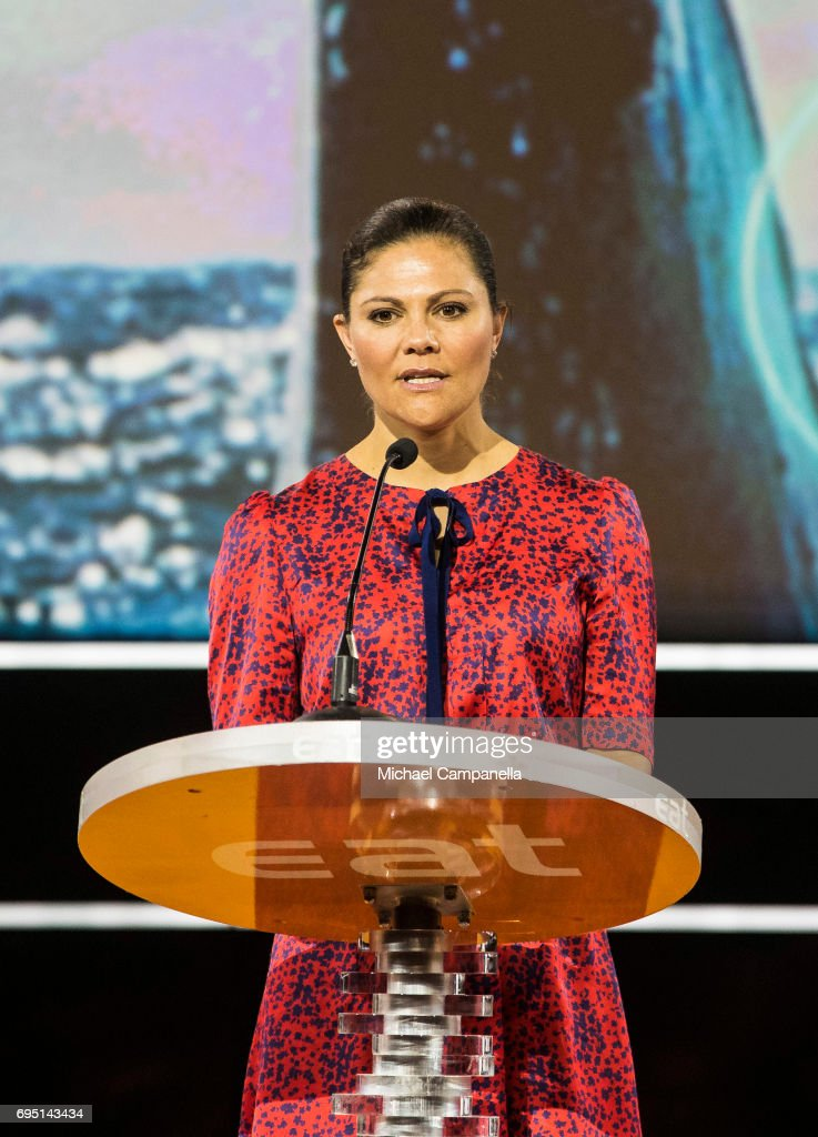 Princess Victoria of Sweden gives a speech at the EAT Stockholm Food Forum at the Clarion Hotel Sign on June 12, 2017 in Stockholm, Sweden.