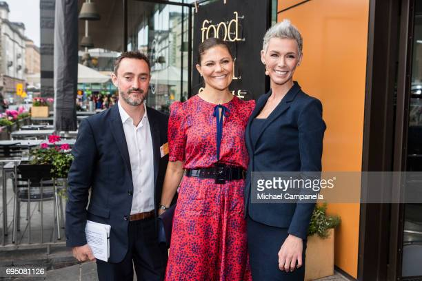 Princess Victoria of Sweden greeted by Jonathan Farnell and Dr Gunhild Stordalen after arriving at the EAT Stockholm Food Forum at the Clarion Hotel...