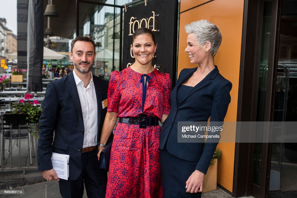 Princess Victoria of Sweden (C) greeted by Jonathan Farnell and Dr. Gunhild Stordalen after arriving at the EAT Stockholm Food Forum at the Clarion Hotel Sign on June 12, 2017 in Stockholm, Sweden.