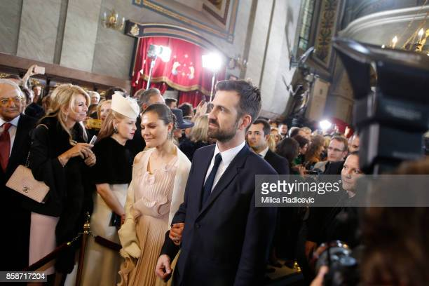 Princess Victoria of Sweden Prince Petar Karadjordjevic during wedding of Prince Philip of Serbia and Danica Marinkovic at The Cathedral Church of St...
