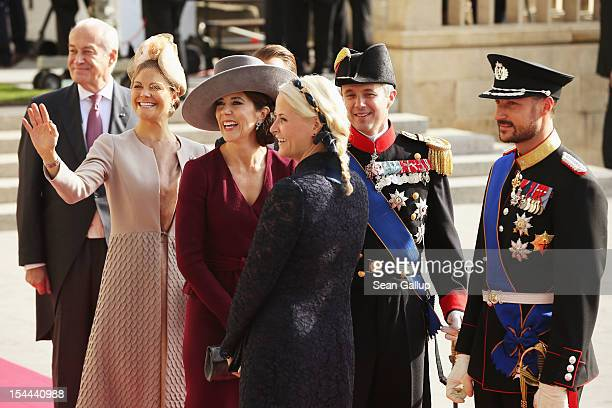 Princess Victoria of Sweden Princess Mary of Denmark Princess Mette Marit of Norway and Prince Haakon of Norway attend the wedding ceremony of Prince...