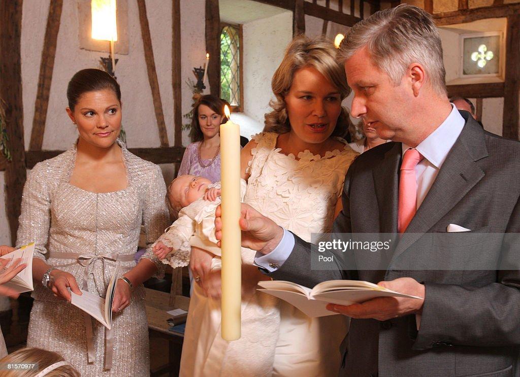 Princess Victoria of Sweden, Princess Mathilde of Belgium holding Princess Elonore of Belgium and Prince Philippe of Belgium participate in the baptism of Princess Eleonore at the Chapel of Ciergnon Castle on June 14, 2008 in Ciergnon, Belgium.