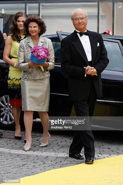Princess Victoria of Sweden, Queen Silvia of Sweden and King Carl XVI Gustaf of Sweden arrive for the Polar Music Prize at Konserthuset on August 28,...