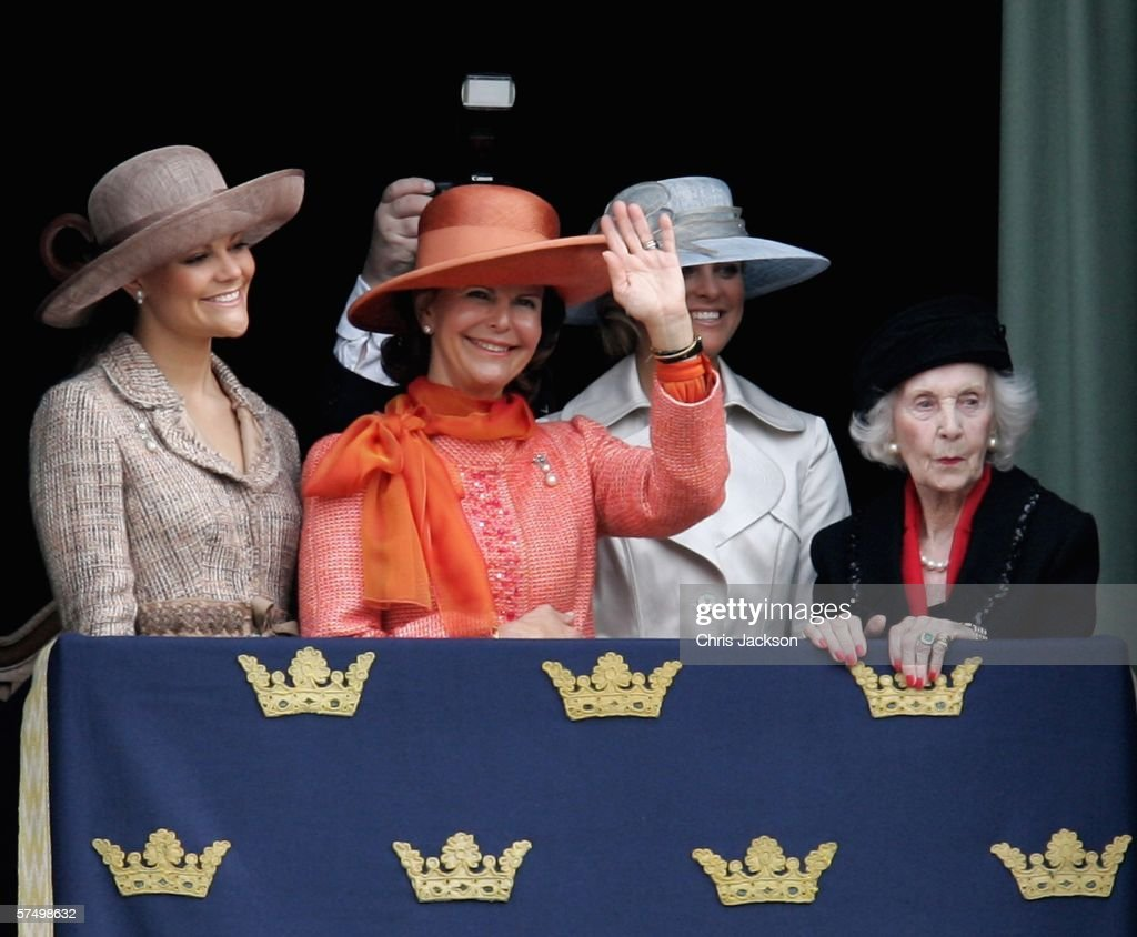 Princess Victoria of Sweden, Queen Silvia of Sweden, Princess Madeleine of Sweden and Princess Lilian of Sweden stand on the balcony during the changing of the guard on H.M. King Carl XVI Gustaf's 60th birthday at the Stockholm Royal Palace on April 30, 2006 in Stockholm, Sweden.