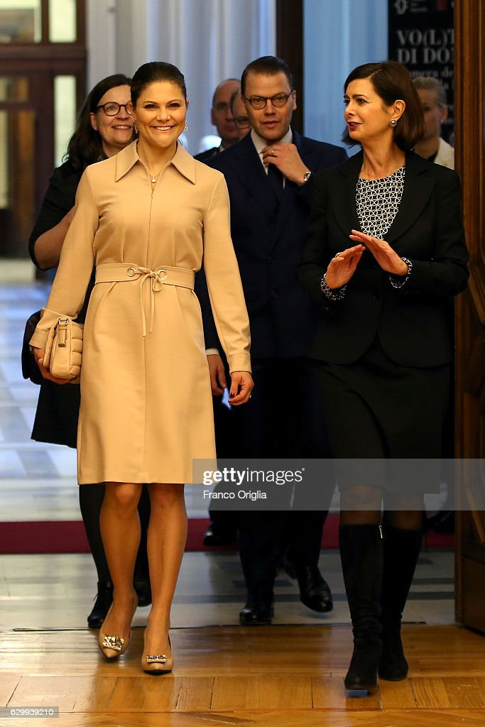 The Swedish Crown Princess Couple and Minister Ekstrom meet President of the Chamber of Deputies Laura Boldrini : News Photo