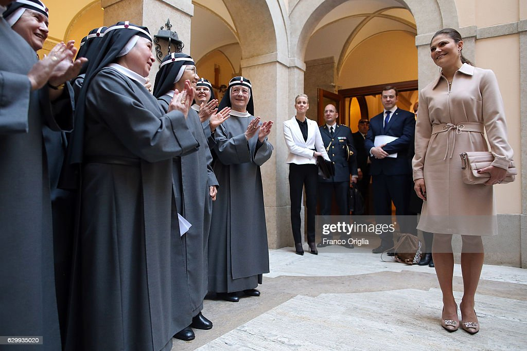 The Swedish Crown Couple and Minister Ekstrom Visit The Birgitta Sisters In Rome : News Photo