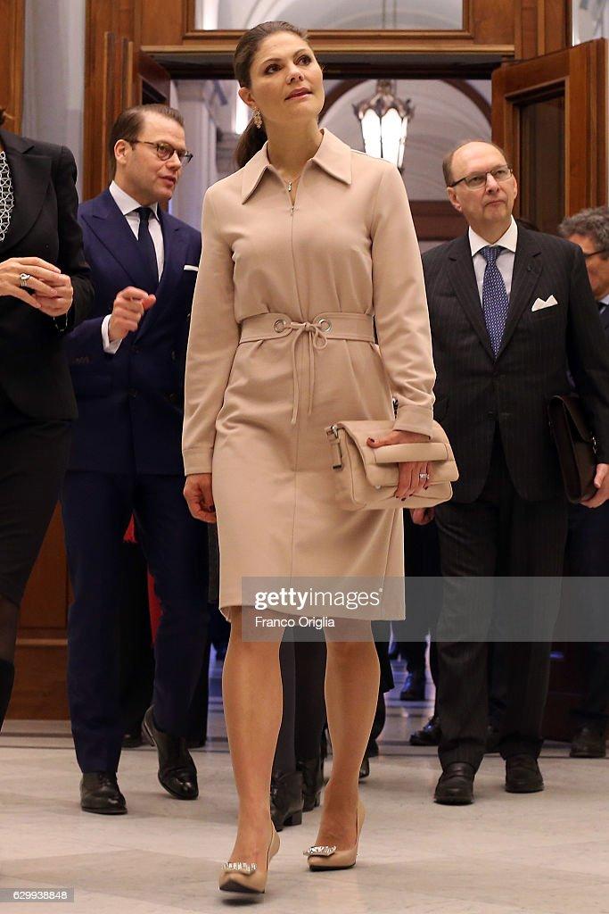The Swedish Crown Princess Couple and Minister Ekstrom meet President of the Chamber of Deputies Laura Boldrini : News Photo