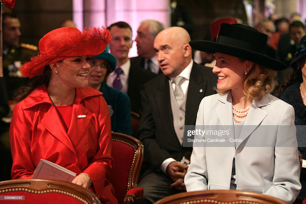 HRH Princess Victoria of Sweeden and HRH Sophie of Liechtenstein attend a pontifical mass marking Prince Albert II of Monaco's formal investiture as the new ruler of Monaco, at Monaco cathedral.