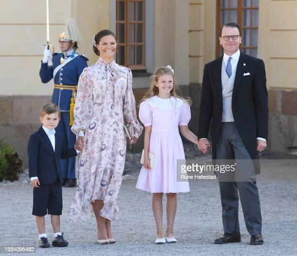 Princess Victoria, Princess Estelle, Prince Oscar and Prince Daniel attend Prince Julian's baptism outside Drottningholm Castle Chapel on August 14,...