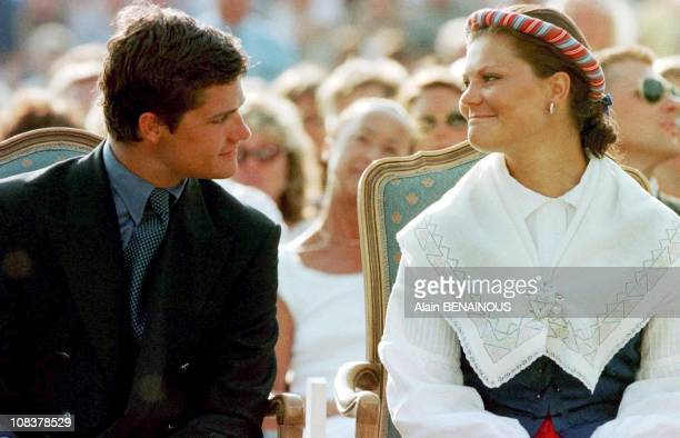 Princess Victoria with her brother CarlPhillip in Sweden on July 15 1999