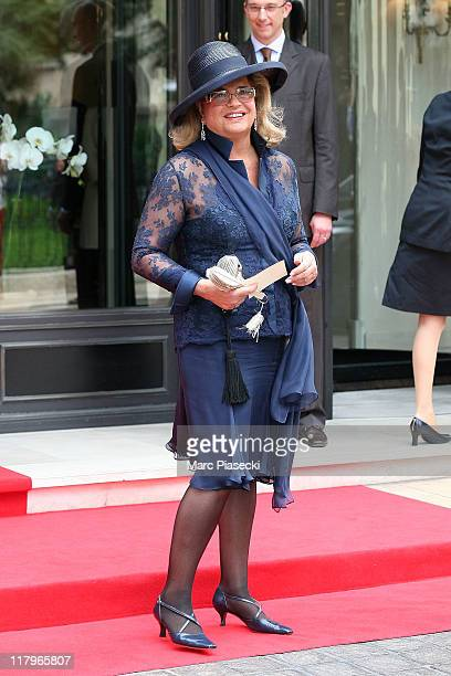 Princess Virginia Ira von Furstenberg leaves the 'Hermitage' hotel to attend the religious ceremony of the Royal Wedding of Prince Albert II of...