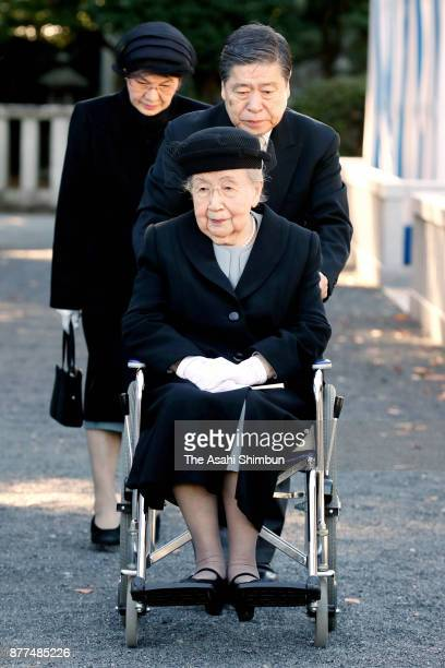 Princess Yuriko of Mikasa attends the 15th anniversary memorial ceremony for Prince Takamado at Toshimagaoka Cemetery on November 21 2017 in Tokyo...