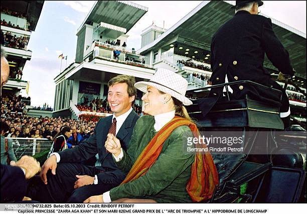 Princess Zahra Aga Khan and her husband 82nd Grand Prix of the Arc De Triomphe at the racecourse of Longchamp