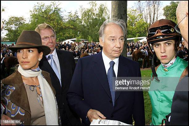 Princess Zahra Aga Khan and Prince Karim Aga Khan with Christophe Soumillon 85th race of the Arc De Triomphe 2006 at the Longchamp racecourse