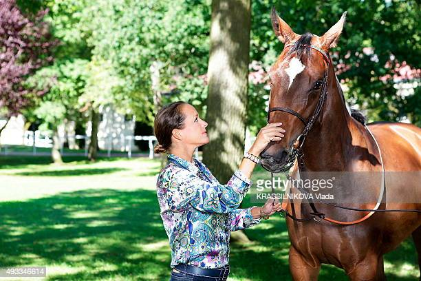 PARIS MATCH AUTHORISATION NEEDED Princess Zahra Aga Khan at her horses training center in Chantilly with the filly Afsheen 3 years on September 9 2015