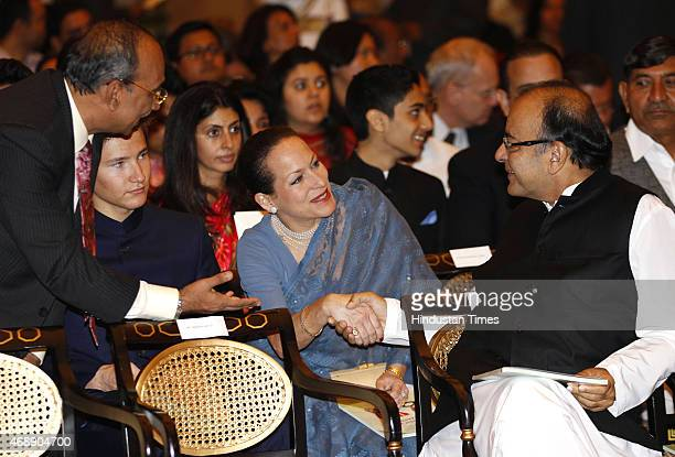 Princess Zahra Aga Khan eldest daughter Aga Khan shakes hand with Union Finance minister Arun Jaitley during Padma awards ceremony at Rashtrapti...