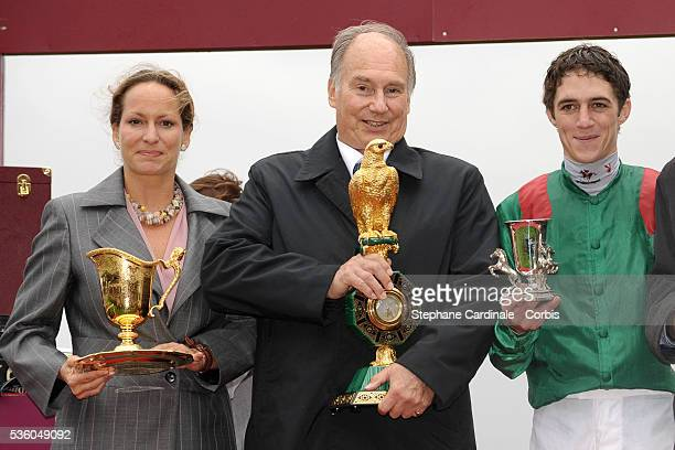 Princess Zahra Aga Khan HRH Prince Aga Kahn IV and Christophe Soumillon at the QatarPrix de l'Arc de Triomphe