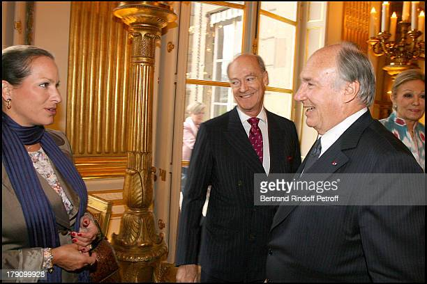 Princess Zahra Aga Khan with uncle Prince Amyn Aga Khan and father Prince Karim Aga Khan at Christine Albanel Presents The Grand Patron And Grand...