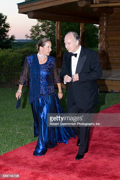 Princess Zahra and her father the Aga Khan arrive at a gala dinner event in commemoration of the 50th anniversary of his leading the Ismali Muslims...