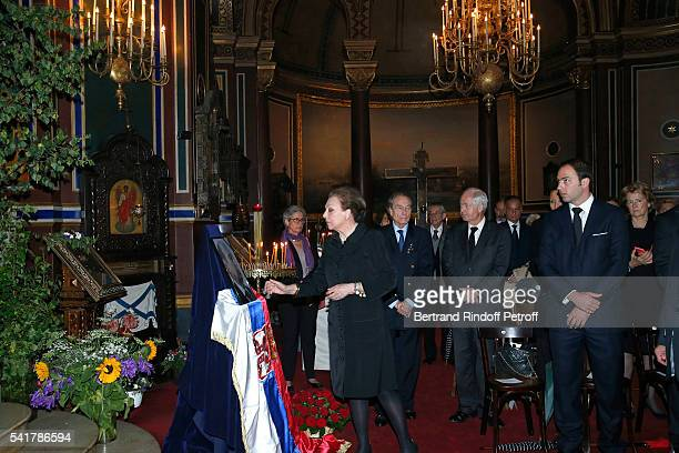 SAR Princesse Barbara de Yougoslavie and her son SAR le Prince Dushan de Yougoslavie attend the Mass in Memory of SAR Le Prince Alexandre De...