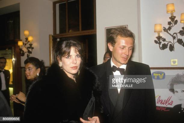 Princesse Caroline of Monaco and husband Stefano Casiraghi at party on March 31 1990 in St Moritz Switzerland