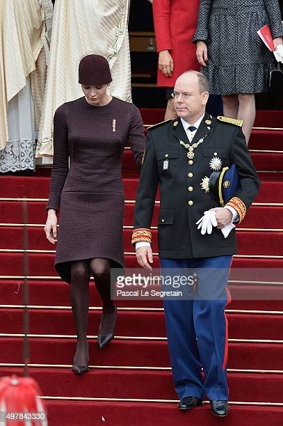 Princesse Charlene Of Monaco and Prince Albert II Of Monaco leave the Cathedral of Monaco after a mass during the official ceremonies for the Monaco...