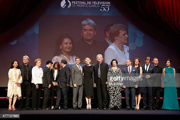 Princesse Charlene of Monaco poses with jury members during the opening ceremony of the 55th Monte Carlo TV Festival on June 13, 2015 in Monte-Carlo,...