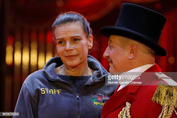 Princesse Stephanie of Monaco and Petit Gougou attend the 42nd International Circus Festival In MonteCarlo Photocall on January 16 2018 in Monaco...