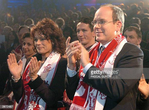 Princesse Stephanie of Monaco her husband Adans Lopes Peres an artist from The Peres Brothers from Portugal and Prince Albert of Monaco applaud 15...