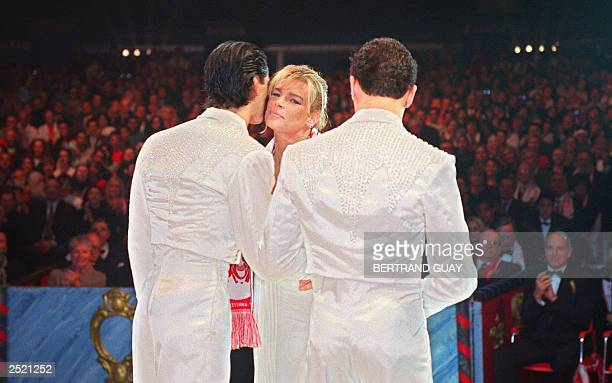Princesse Stephanie of Monaco kisses Adans Lopez Peres while awarding him and his brother the circus acrobats called The Peres Brothers from Portugal...