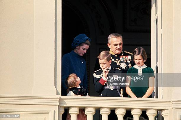 Princesse Stephanie Prince Albert and Princesse Caroline with their parents Princesse Grace and Prince Rainier III of Monaco at the balcony of the...