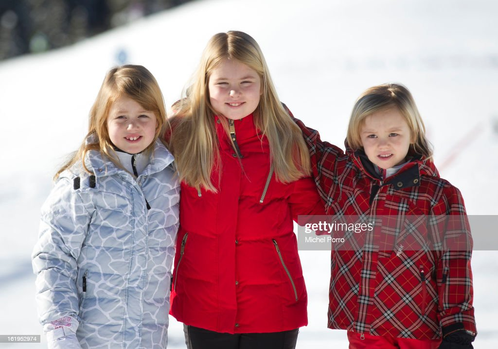 Princesses Alexia, Amalia and Ariane of The Netherlands pose at the annual winter photocall on February 18, 2013 in Lech, Austria.