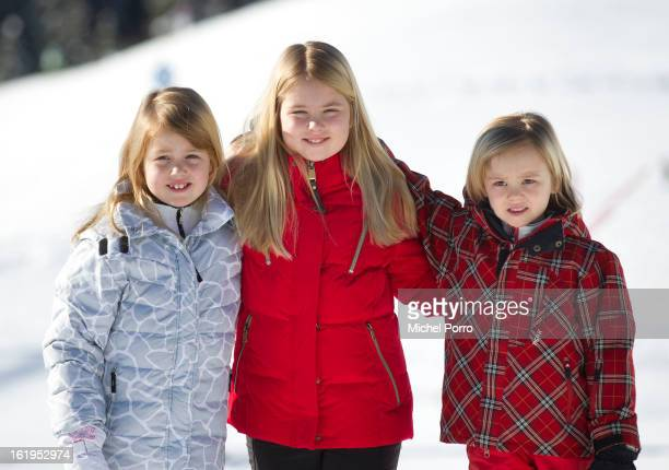 Princesses Alexia Amalia and Ariane of The Netherlands pose at the annual winter photocall on February 18 2013 in Lech Austria