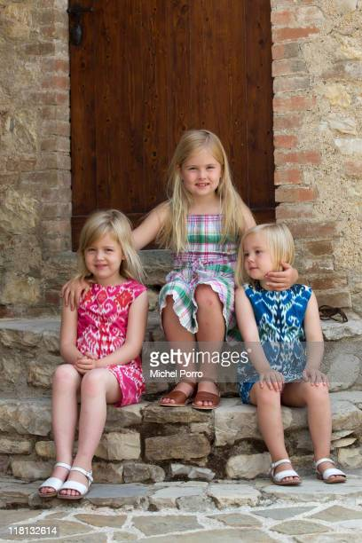 Princesses Alexia, Catharina-Amalia and Ariane pose during a photo session at the Queen's holiday residence on July 4, 2011 in Tavernelle, Italy.