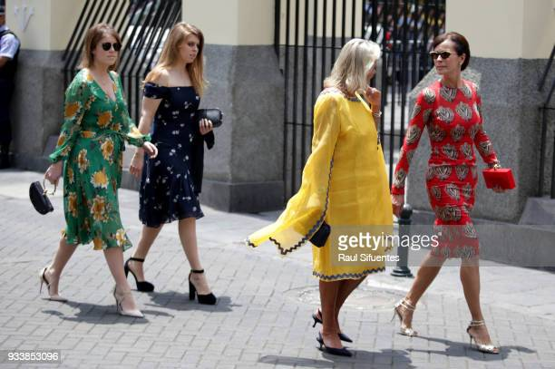 Princesses Beatrice and Eugenie arrive to the wedding of Prince Christian of Hanover and Alessandra de Osma at Basilica San Pedro on March 16 2018 in...