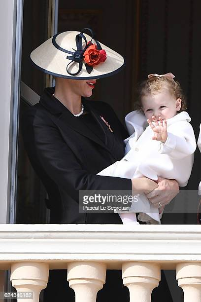 Princesses Charlene of Monaco and Gabriella of Monaco greet the crowd from the palace's balcony during the Monaco National Day Celebrations on...