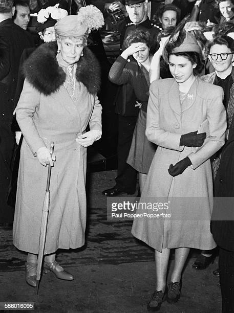 Princesses Elizabeth and her grandmother, Queen Mary of Teck arrive at a reception in Clerkenwell Green, London on March 10th 1948.