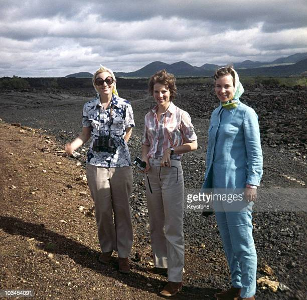 Princesses Margrethe and Benedikte of Denmark with their sisiter Queen AnneMarie of Greece during a family holday to Africa in may 1970
