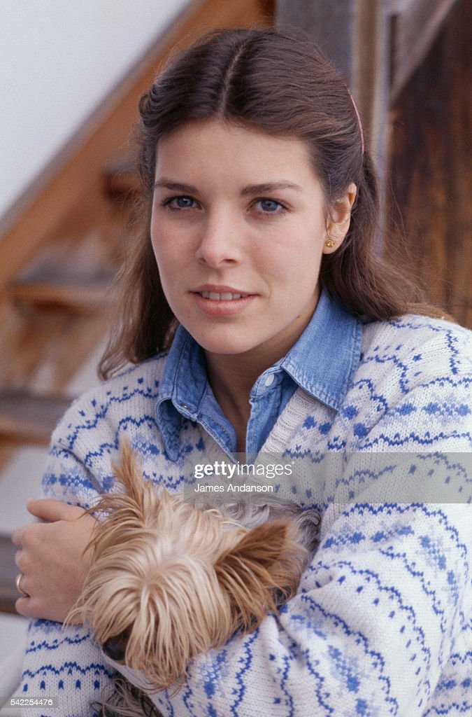 princesss-caroline-of-monaco-holds-a-small-dog-during-her-winter-picture-id542254476