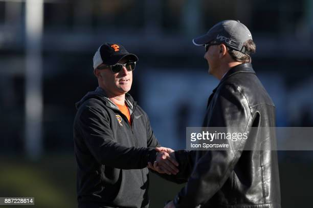 Princeton head coach Sean Driscoll shakes hands with UNC head coach Anson Dorrance after the game The University of North Carolina Tar Heels hosted...