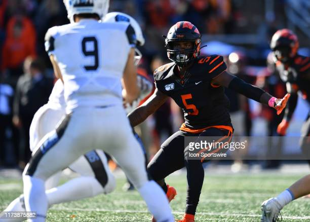 Princeton LB Jeremiah Tyler tracks a handoff in the second half during the game between the Columbia Lions and Princeton Tigers on October 2019 at...