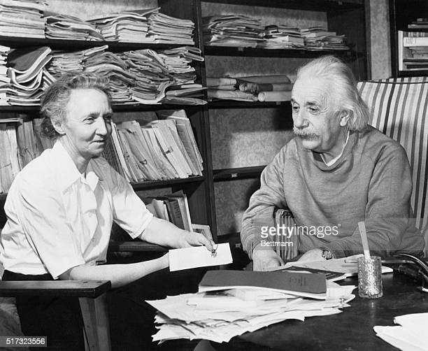 3/20/1948 Princeton NJ Madame JoliotCuris guest of Einstein Albert Einstein and Madame Irene Joliot Curie French nuclear physicist talk informally in...