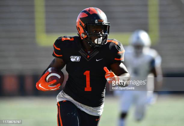 Princeton RB Collin Eaddy carries the ball in the second half during the game between the Columbia Lions and Princeton Tigers on October 2019 at...